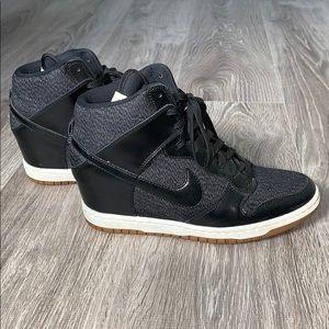 Nike Black and Grey Dunk Ski Hi Wedge Sneakers.